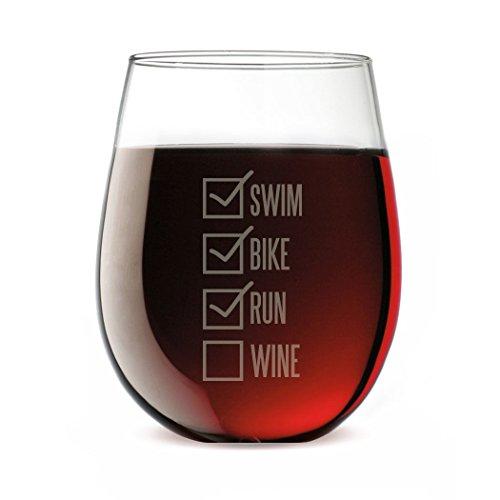 Triathlon Stemless Wine Glass Swim Bike Run ()