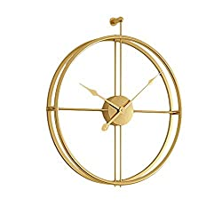 HIGJ Polygon Wall Clock Oversized Metal Clocks Round Clock Minimalist Decorative Pocket Watch No Ticking 52cm (Color : Gold)