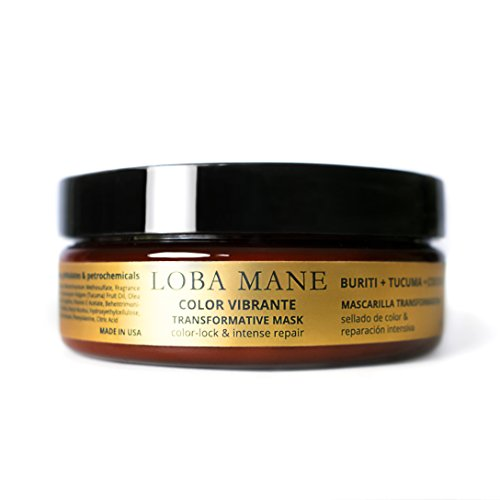 Loba Mane Transformative Hair Mask – Color-Lock and Deep Conditioner Treatment – with Buriti, Coconut Tucuma – Replenishes Damaged Brittle Hair – Natural Organic – 5 oz