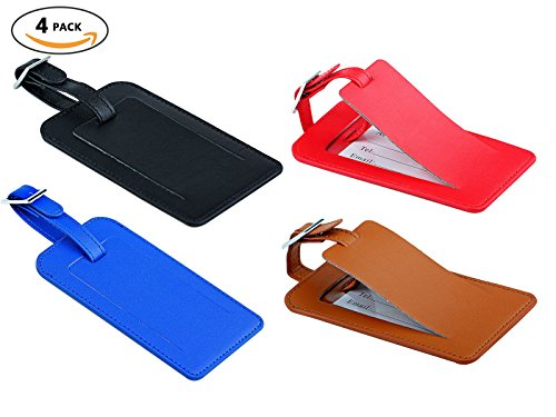 Travel Luggage Tags - Identifiers Labels For Suitcases - Bulk PU Cruise Baggage Tag Set 4 Pack - Leather Football Keychain Tag