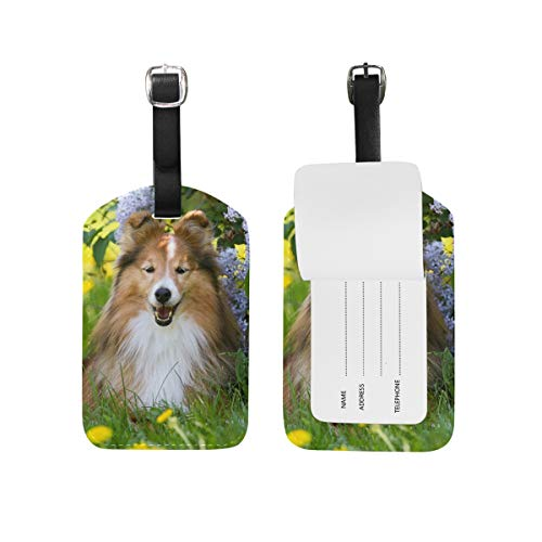 Luggage Tag Travel Suitcase Label ID Tag Cute Sheepdog Green Grass PU Leather for Baggage Kid's Bag 1 Piece (Sheepdog Address Labels)