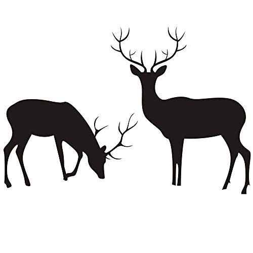 "Homefind (Black 37""w x 25""h) Deer Buck and Doe Set of 2 Vinyl Decals Reindeer Wilderness Scene Wall Stickers Living Room Bedroom TV Sofa Background Art Wall Decals Festival Christmas Wall Ornaments"