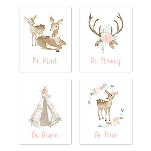 Sweet Jojo Designs Blush Pink and Mint Wall Art Prints Room Decor for Baby, Nursery, and Kids for Boho Woodland Deer Floral Collection - Set of 4 - Be Kind, Be Strong, Be Brave, Be True