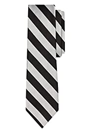 Jacob Alexander Stripe Woven Boys Regular College Striped Tie - Silver Black