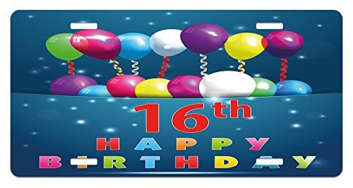 Iliogine 16th Birthday Sweet Sixteen Theme Teenage Design Party Balloons Kitsch Celebration Image License Plate Frame Car Tag Border for Men Women Car Garadge Decor -