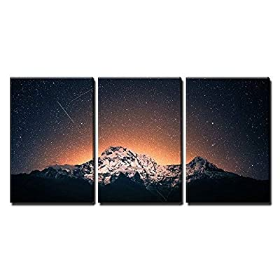 3 Piece Canvas Wall Art - Snow Mountain Under Sea of Stars - Modern Home Art Stretched and Framed Ready to Hang - 16