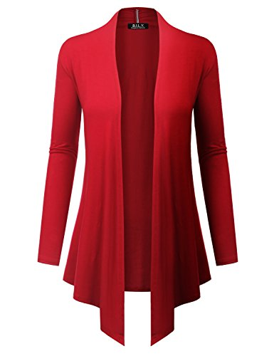 BH B.I.L.Y USA Women's Open Front Drape Hem Lightweight Cardigan with Pockets Red Small