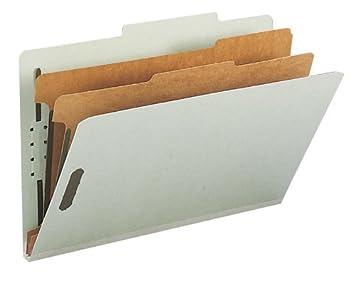 Smead - Carpeta clasificadora de cartón prensado reciclado, 2 separadores, extensión de 5 cm, tamaño legal, gris/verde, 10 por caja (19022): Amazon.es: ...