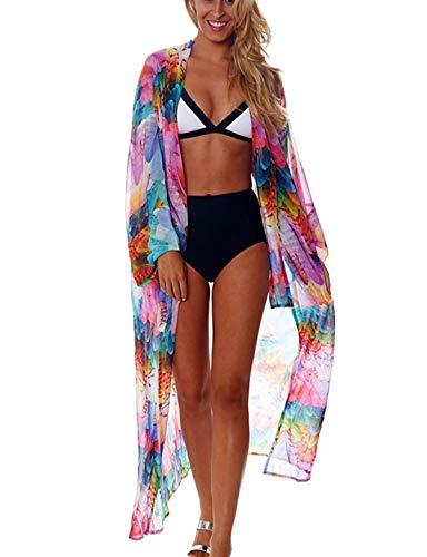 Ailunsnika Women Chiffon Multi Feather Print Beach Kimono Cardigan Long Sleeve Open Front Beachwear Bathing Suit Cover Up
