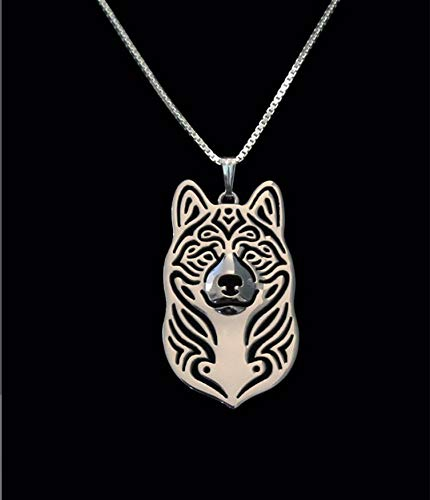 American Akita Silver Charm Pendant Necklace, Dog Lover, Friend Gift ()
