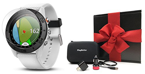 Garmin Approach S60 White Gift Box Bundle Includes Glass Screen Protector, PlayBetter USB Car Wall Charging Adapters Protective Hard Case Multi-Sport Golf GPS Watch Gift Box, Red Bow