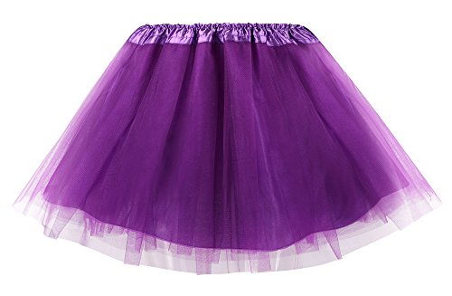 Simplicity Women Elastic 4 Layered Tulle Tutu Skirt for Marathon Running, Purple
