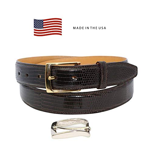 Size 40 Dark Brown Genuine Lizard Belt - 1 ¼ inch (32mm) Wide Shiny Glazed - Gold and Silver Buckles Included - Factory Direct Price - Made in USA by Real Leather Creations FBA209