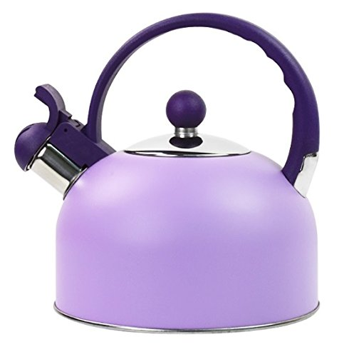 Stainless Steel Colors Whistling Tea Kettle Water Kettles Furnace Stove Teapot Tools Induction Cooker Camping,2.5 L (Purple)