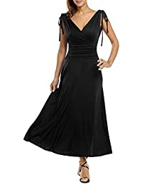 Women's Sleeveless Ruched Waist Classy V-Neck Fit and Flare Cocktail Long Party Maxi Dress