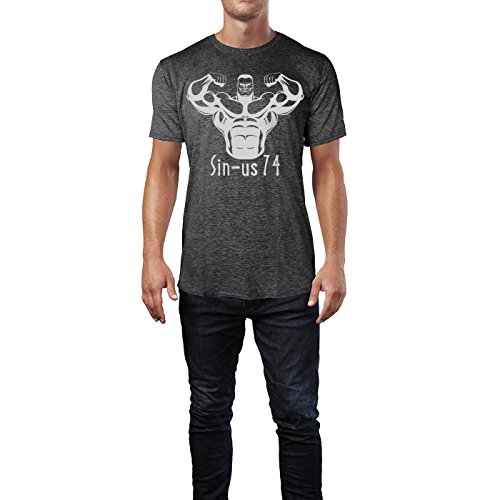 SINUS ART ® Bodybuilder in Frontalansicht Herren T-Shirts in dunkelgrau Fun Shirt mit tollen Aufdruck