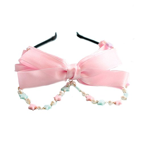 BLESSIWomen 's Pink Stars Bowknot Lolita Bow Cute Hand-Made Headband Hair Cilp (M Hair (Lolita Bow)