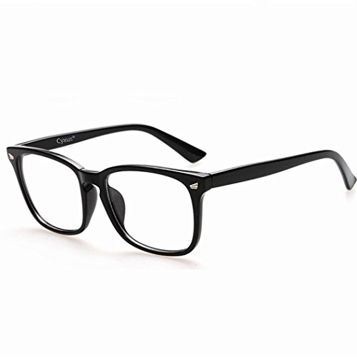 Cyxus Blue Light Filter Computer Glasses for Blocking UV Headache [Anti Eye Fatigue] Transparent Lens Black Frame, Unisex - Men Lens