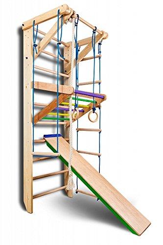 Sportger/ät Turnwand Kinder Gym Sport-3-240-Farbe Kletterger/üst Fitness Kletterwand Holz Sprossenwand mit Stange
