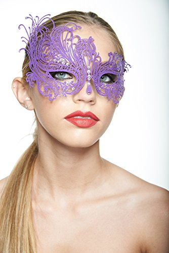 [Kayso Inc BF001 Beautiful Swan Design Laser Cut Masquerade Mask w/ Rhinestones] (Swan Princess Costume)