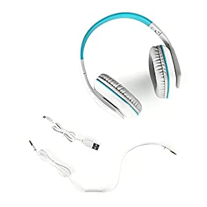 OWIKAR Bluetooth Gaming Headset With Microphone B3506 Music HIFI Sound Video Game Headphones With LED Light Vibration USB Over-the-head Computer Headset For PC Laptop Tablet Cellphones (White/Blue)