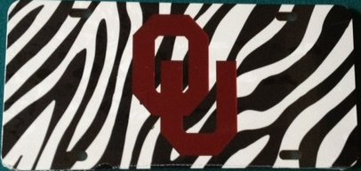 Zebra Print Oklahoma Mirrored Car Tag - OU Sooners License - Sooner Store Ou