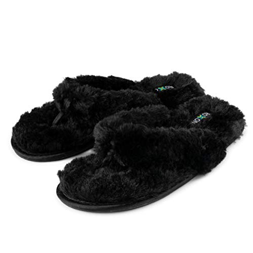 Roxoni Fuzzy House Slippers for Women – Comfortable Furry Spa Thongs – Cozy Slip On Flip Flops - Soft Insole & Rubber Outsole Black ()