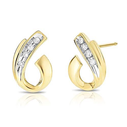 10K Yellow Gold Diamond High Polish Swirled Post Earrings - 1/10 cttw