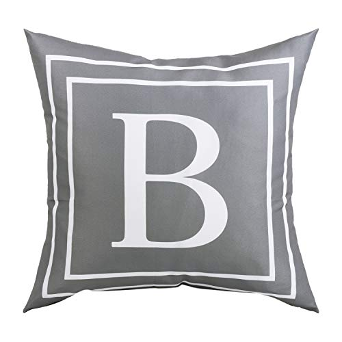 BLEUM CADE Gray Pillow Cover English Alphabet B Throw Pillow Case Modern Cushion Cover Square Pillowcase Decoration for Sofa Bed Chair Car 18 x 18 Inch