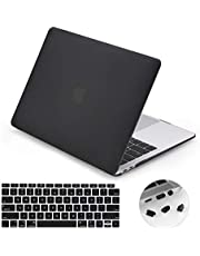 LENTION Matte Hard Case Compatible for MacBook Air (13-inch, 2018 2019 2020) - Model A1932, Comes with Keyboard Cover and Port Plugs, Matte Finish Case with Rubber Feet (Frost Black)
