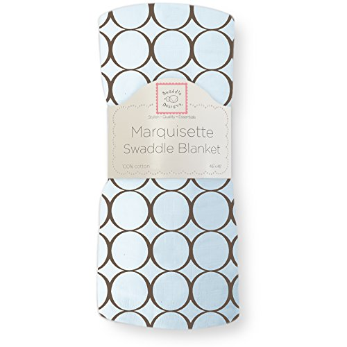 SwaddleDesigns Marquisette Swaddling Blanket, Premium Cotton Muslin, Brown Mod Circles on Pastel Blue