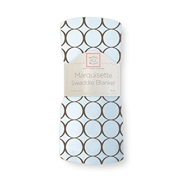 SwaddleDesigns Marquisette Swaddling Blanket, Premium Cotton Muslin, Brown Mod Circles on Pastel Blue