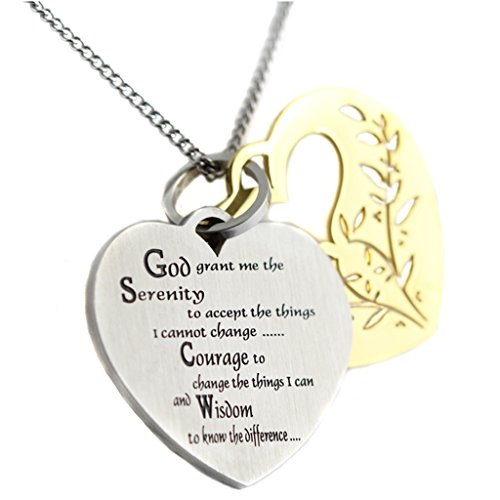 (Filigree Serenity Prayer Heart Shaped Two Tone Two Piece Pendant 12 Step Serenity Prayer Necklace)
