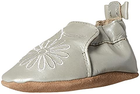 Robeez Girls' Soft Soles with Bow Back Slip-on, Metallic Mist, 6-12 Months M US Infant