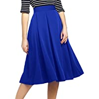 Beluring Womens High Waist A-Line Skater Skirt with Pockets