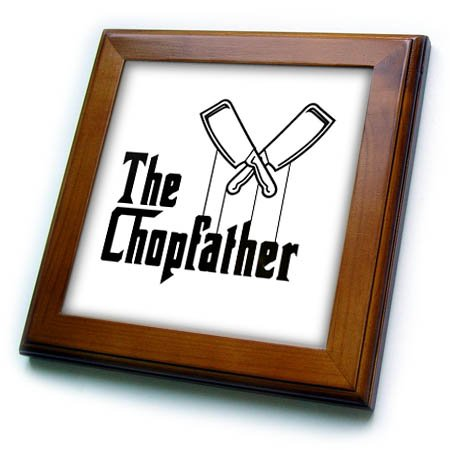 3dRose Carsten Reisinger - Illustrations - The Chopfather Fun Kitchen Chef Design Culinary Master - 8x8 Framed Tile - Tile Framed Chef