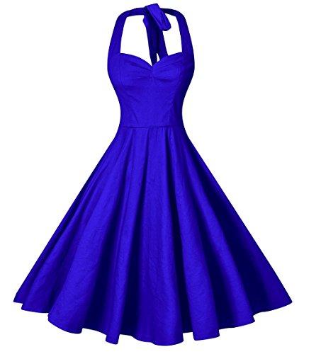V fashion Women's Rockabilly 50s Vintage Solid Color Halter Cocktail Swing Dress, Royal Blue - 1960's Vintage Dress