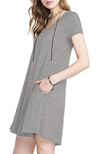 (TINYHI Women's Casual Short Neon Sleeve T-Shirt Loose Summer Sundresses Pocket Dress Gray,X-Large)