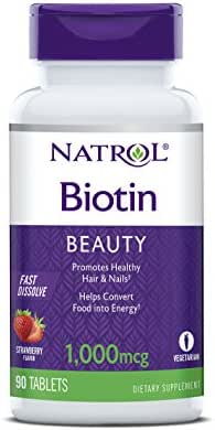 Natrol Biotin Fast Dissolve Tablets, Strawberry Flavor, 1,000mcg, 90 Count