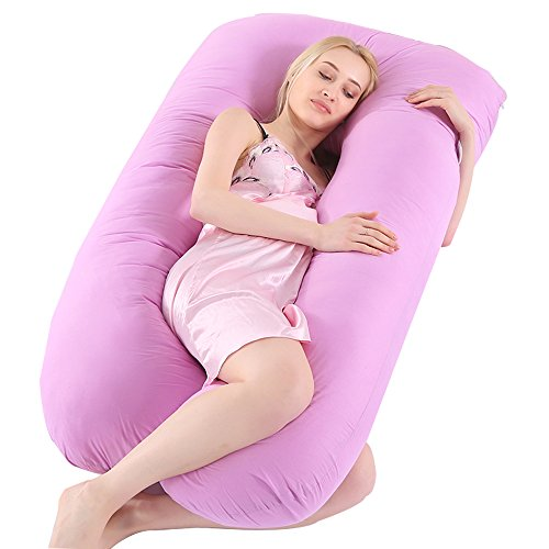 NineSi Pregnancy Pillow, U Shape Pregnant Full Body Pillow Nursing Cushion Growing Tummy Support Full Pregnancy Body Maternity Pillow Contoured Back Support Zippe/Removable Cover(Purple)