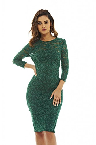 AX Paris Women's 3/4 Sleeve Bodycon Midi Dress(Green, Size:10)