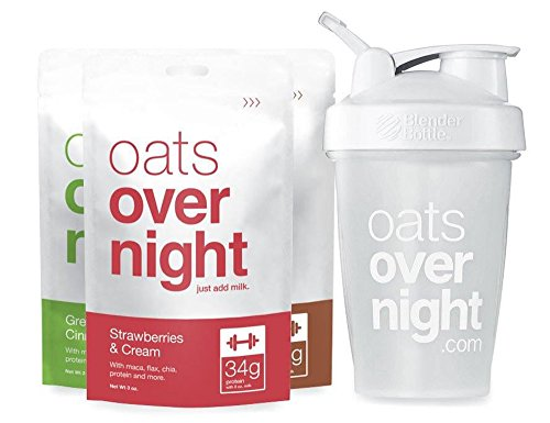 Oats Overnight Variety with BlenderBottle (3oz per pack) High Protein / Low Sugar (24 Pack with BlenderBottle)