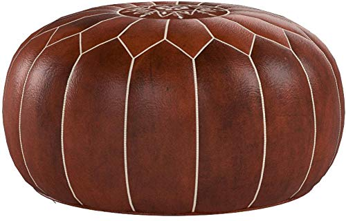 Premium Handmade Dark Brown Tobacco poufs Moroccan Leather Pouf,Ottoman Footstool Hassock 100% real Natural Leather pouffe,Home gifts, wedding gifts, foot stool by Kenzella Wares