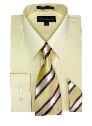 Milano Moda Men's Long Sleeve Dress Shirt With Matching Tie And Handkie SG21A-Canary-17-17 1/2-36-37