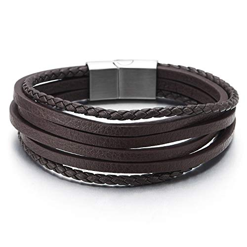 (COOLSTEELANDBEYOND Mens Womens Multi-Strand Brown Braided Leather Bracelet Wristband with Steel Magnetic Clasp)