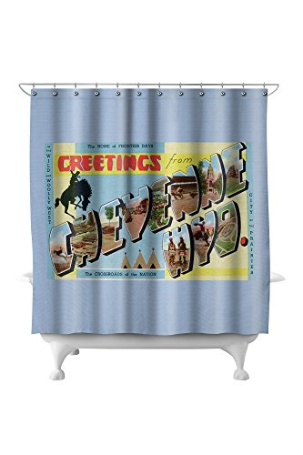 Cheyenne Drapes (Cheyenne, Wyoming - Large Letter Scenes, Greetings From (71x74 Polyester Shower Curtain))