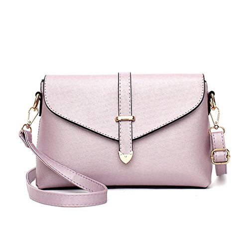 Auspicious beginning Women's Simple and Stylish Adjustable Cross Body Envelope Bag light purple