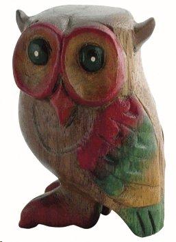 Fantastico piccolo gufo bubolante, fischietto in legno.