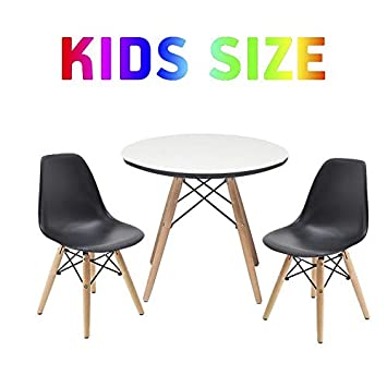 Buschman Set of Kids Dining Room Mid Century Wooden Legs Table Scratch Protected Surface in White and Two Armless Chairs