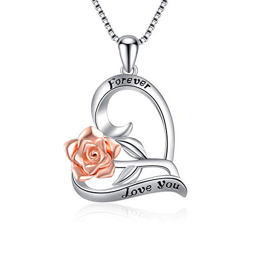 I Love You Forever Heart Necklace Sterling Silver Rose Forever Pendant Necklaces for Women Girls ()